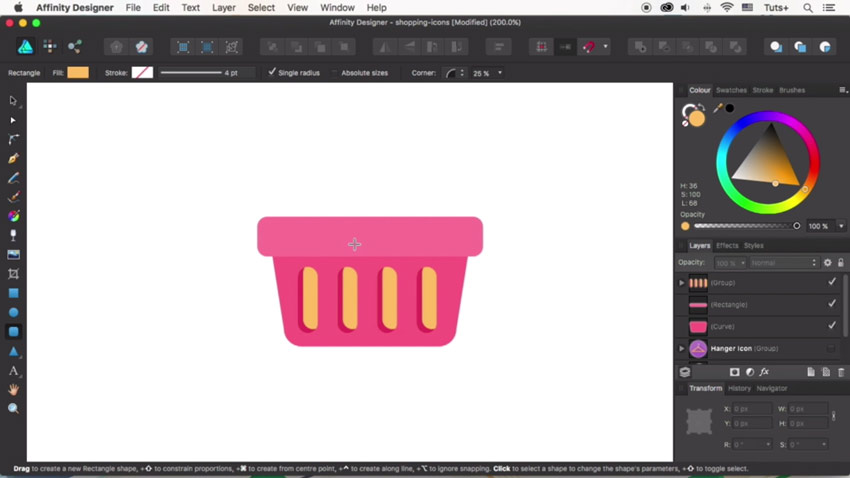 How to Design Flat Icons in Affinity Designer: Shopping Basket and Dress Icons