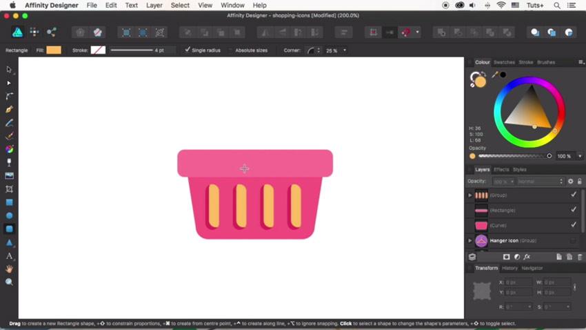 Create the basket cutouts
