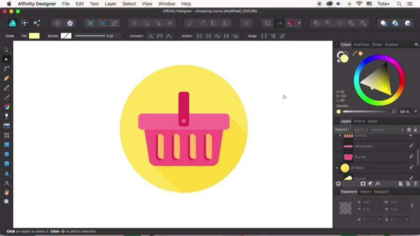 Finish the shopping basket icon