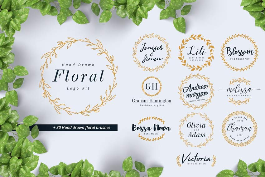 Hand Drawn Floral Logo Kit