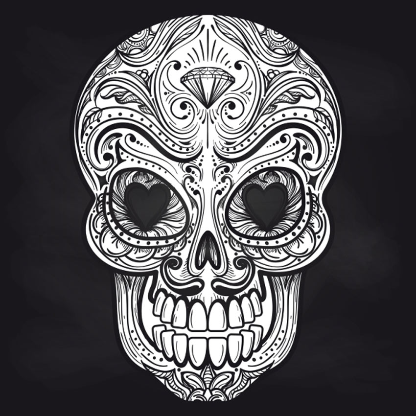 Mexican Skull on Chalkboard Background