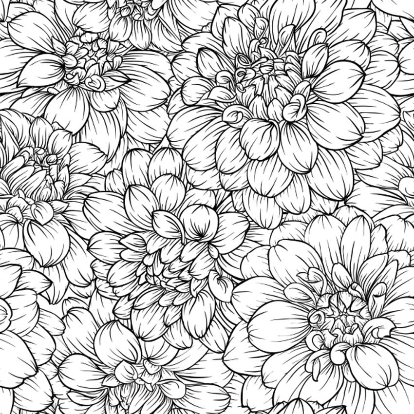 Black and White Seamless Flower Pattern