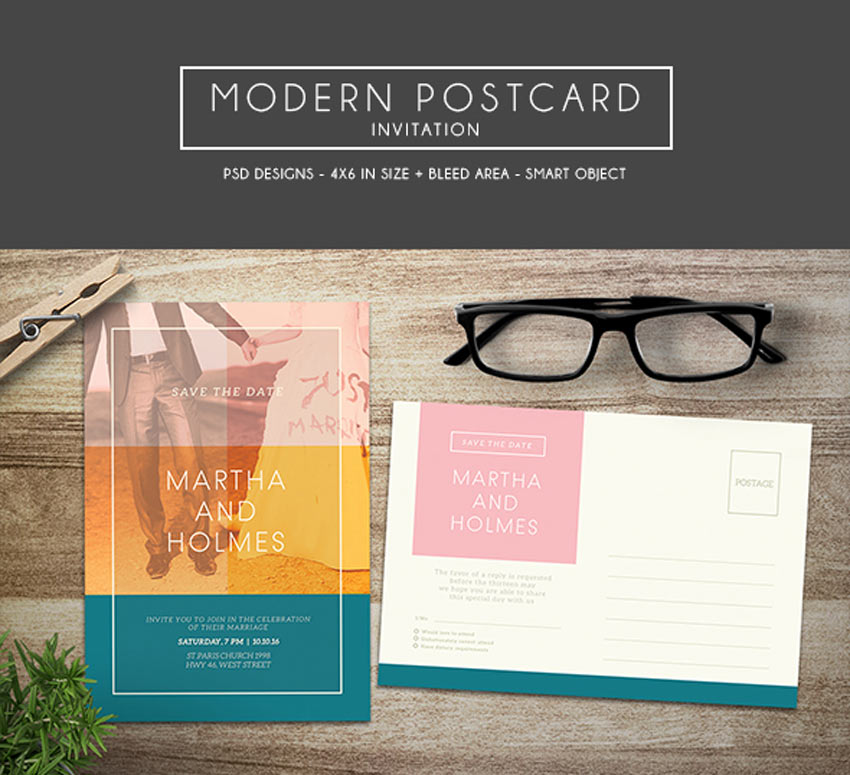 Modern Postcard Invitation