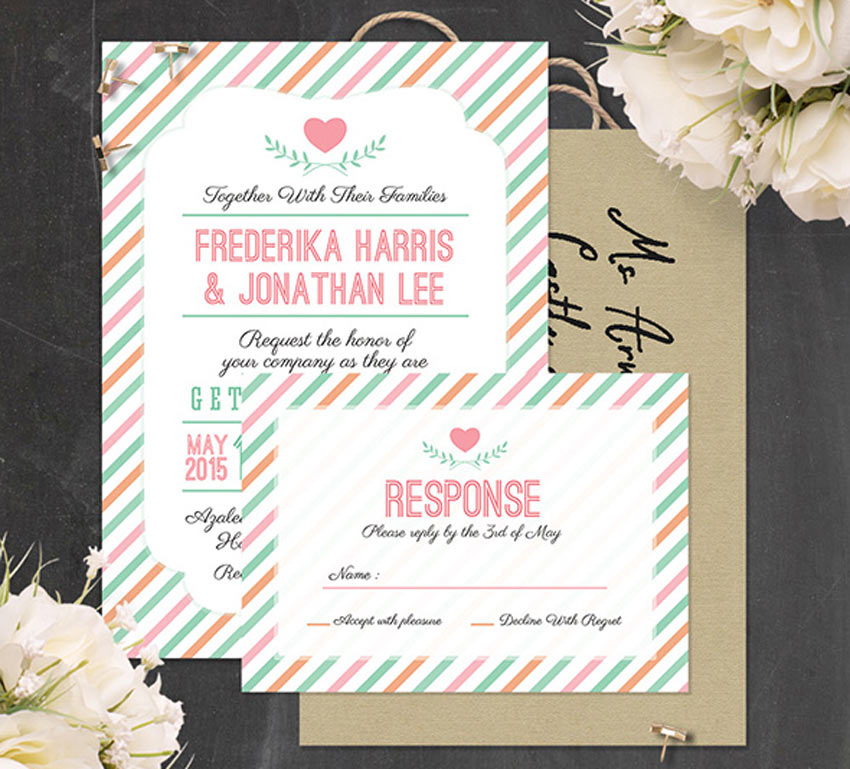 22 modern and unique wedding invites stripes wedding invitation stopboris Images