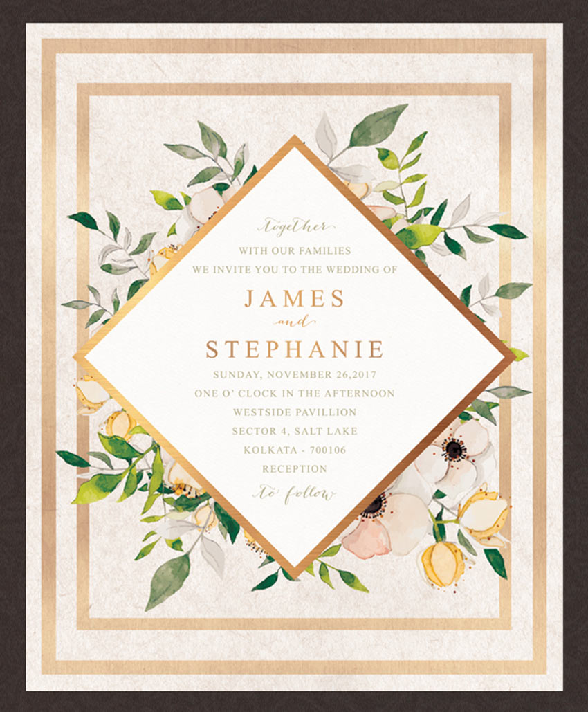 Floral Watercolor Wedding Invitation Card