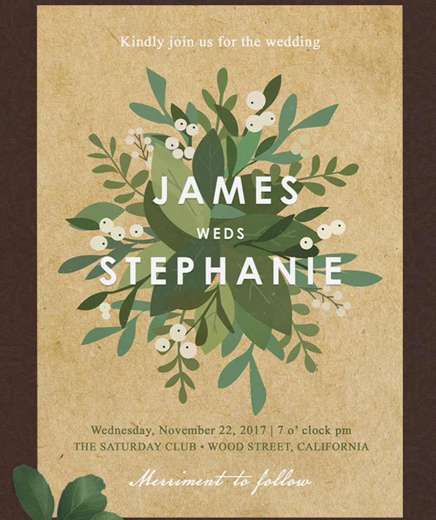 Minimal Elegant Floral Wedding Invitation