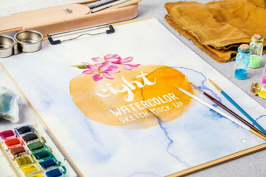 Watercolor Paint Mock Up