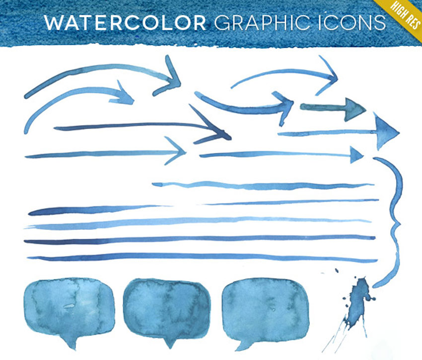 Watercolor Graphic Elements Kit