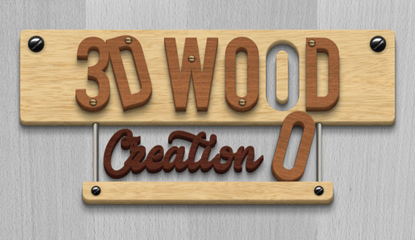 3D Wood Creation Text Effect