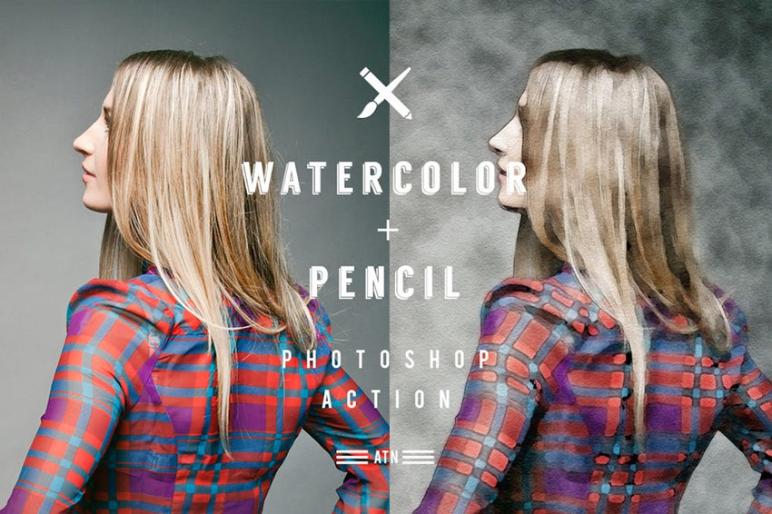 Watercolor and Pencil Action for Photoshop