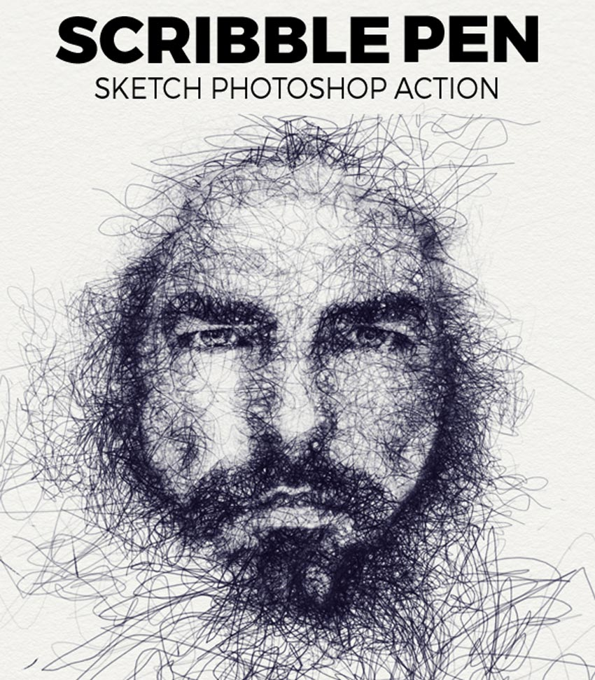 Scribble pen sketch photoshop action