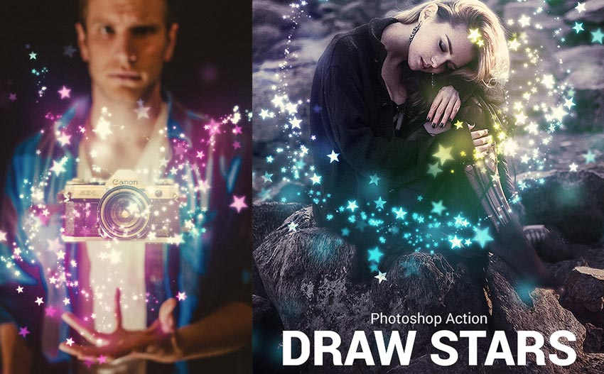 Draw Stars Photoshop Action