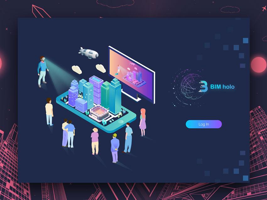 BIM Holographic Platform Background