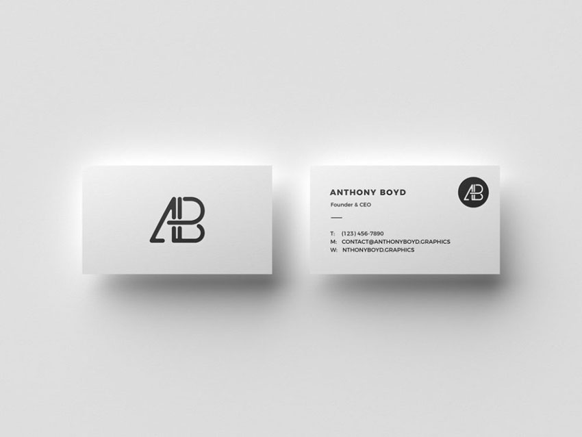 floating business cards mockup - Business Card Mockups