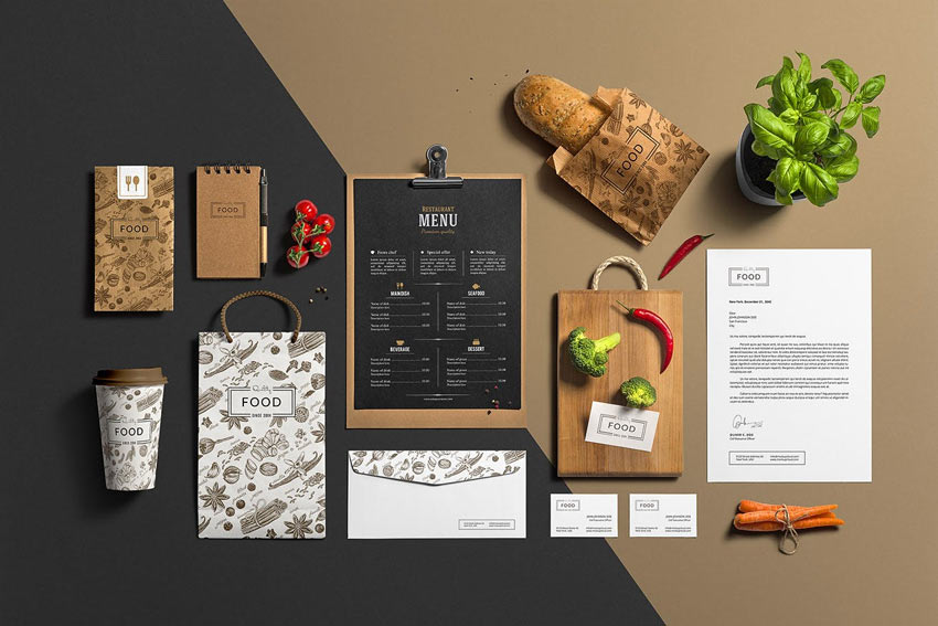 Restaurant  Bar Stationery Branding Mockup