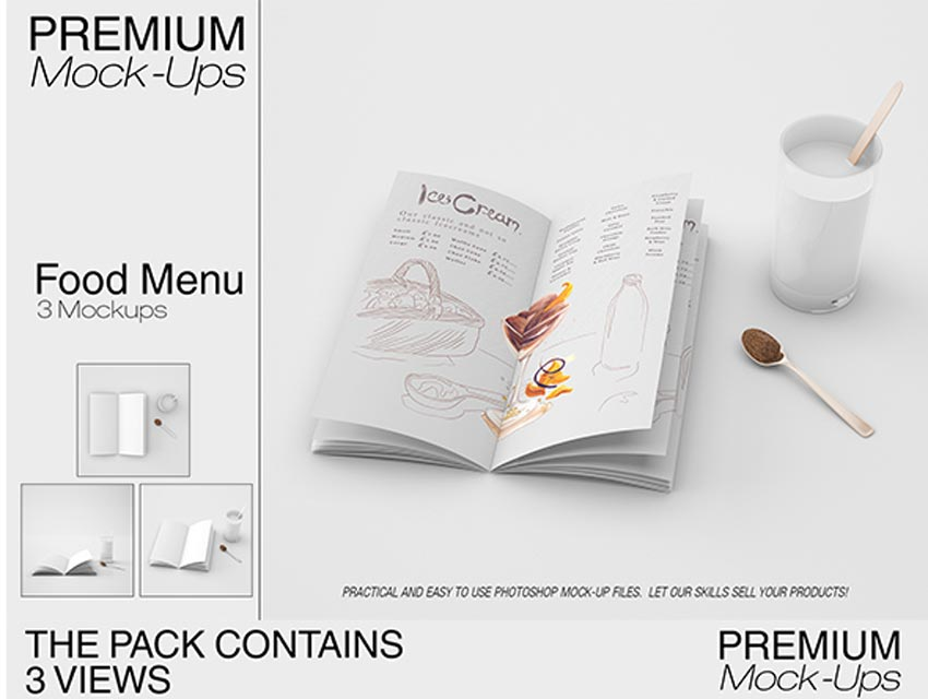 Food  Drink Menu Mockup Set
