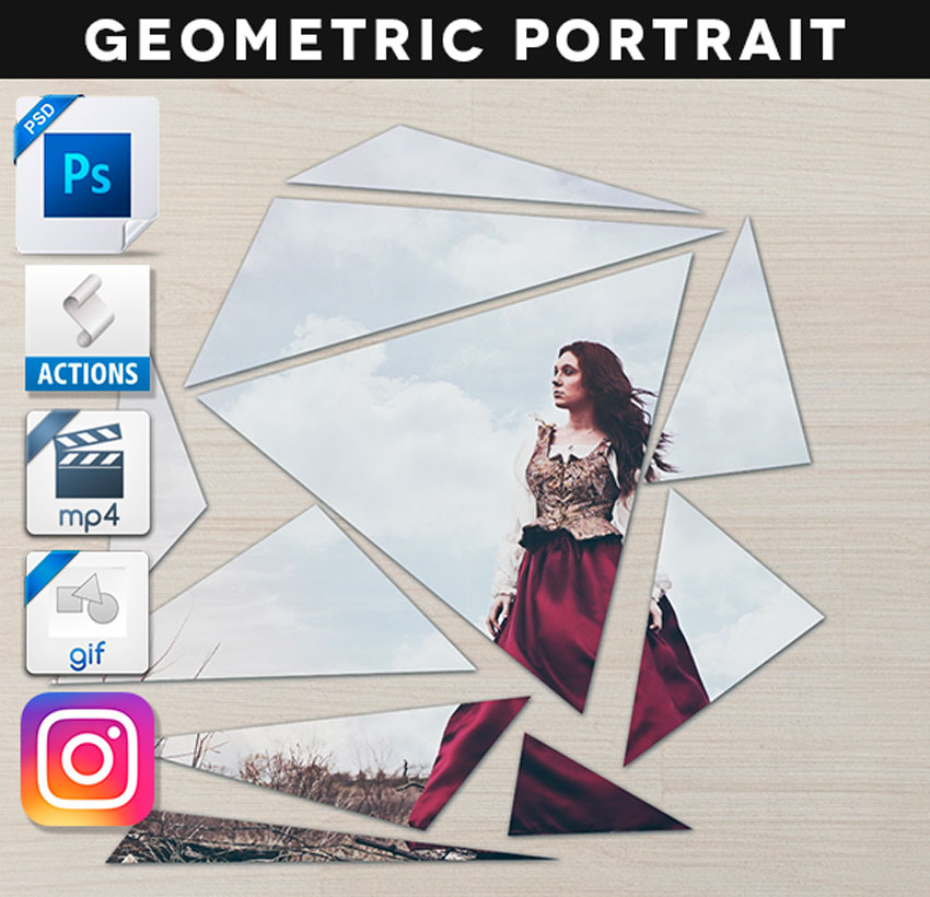 Animated Broken Geometric Portrait Action