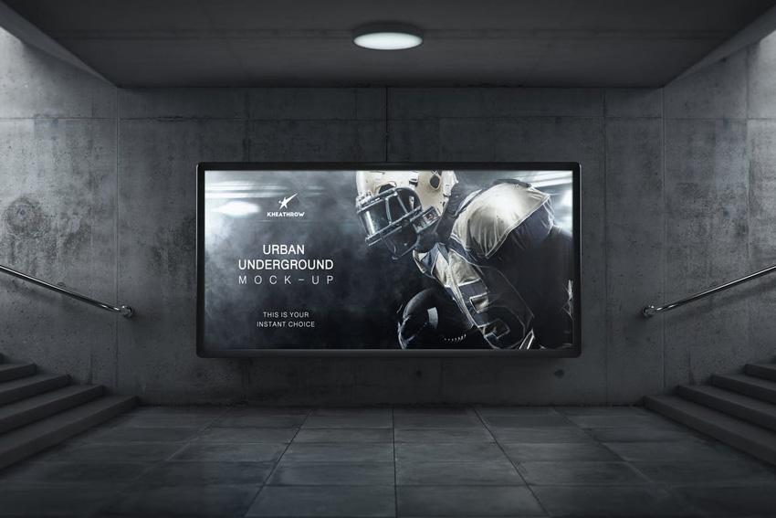 Urban Underground Lightbox Billboard Mock-Ups