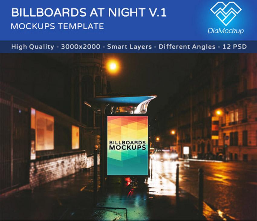 Billboards Mockups at Night Vol1