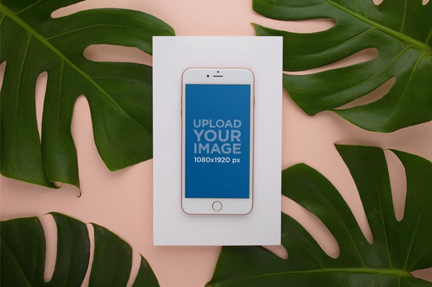 Tropical Plant and Rose Gold iPhone Mockup