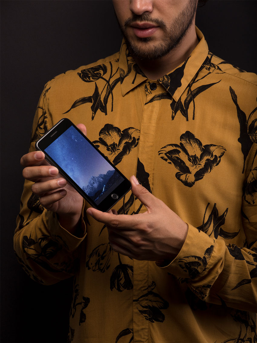 iPhone Mockup With Male Model