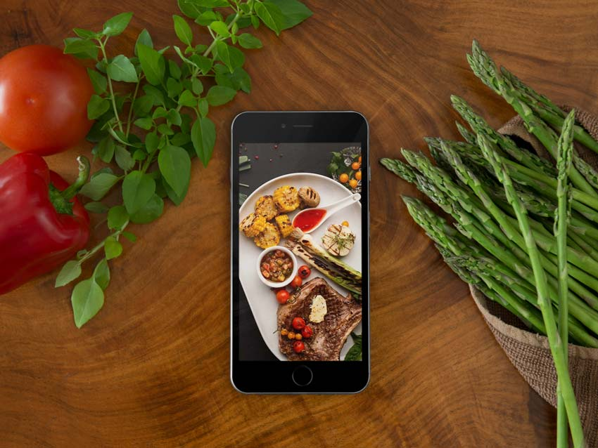 Black iPhone and Food Mockup