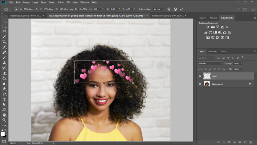 Apply a heart crown in photoshop