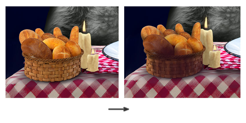 add shadow to the bread and candles