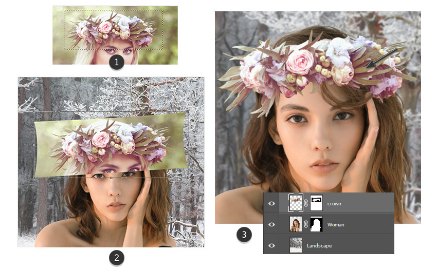 Add the flower crown in Photoshop