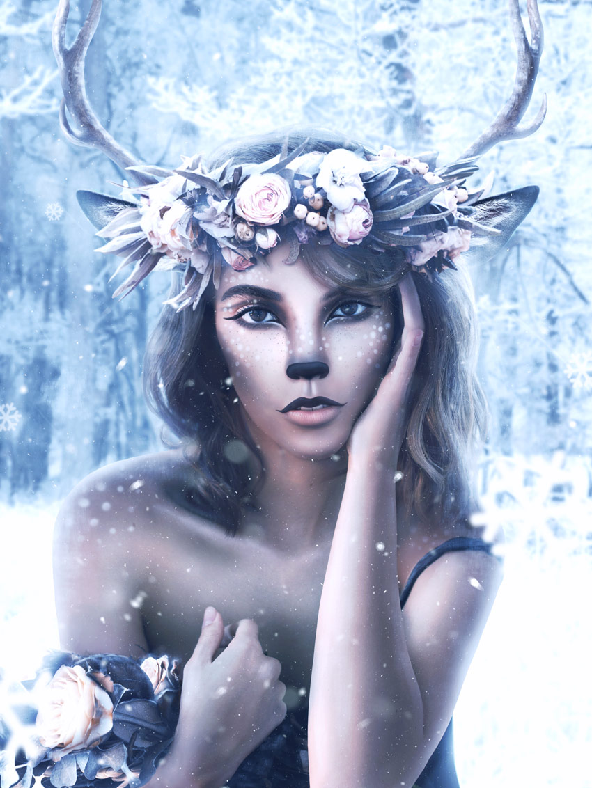 Deer Makeup Photo Manipulation Photoshop Tutorial by Melody Nieves