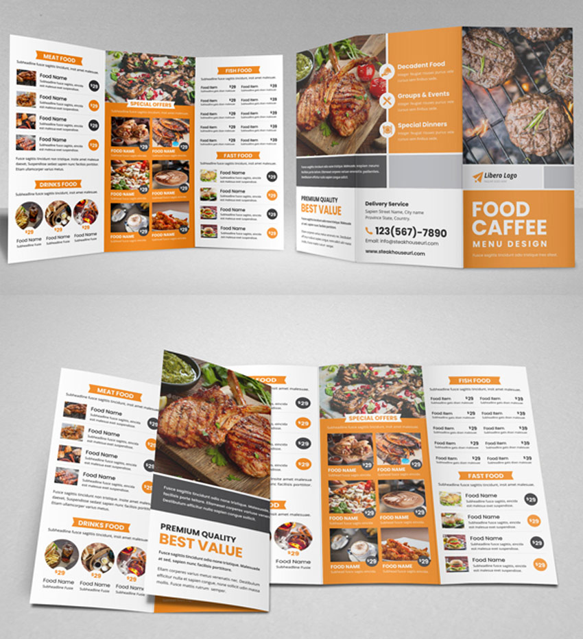 Food Restaurant Trifold Brochure