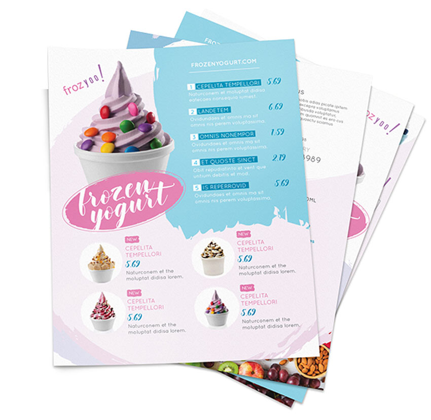 Frozen Yogurt Menu Flyers