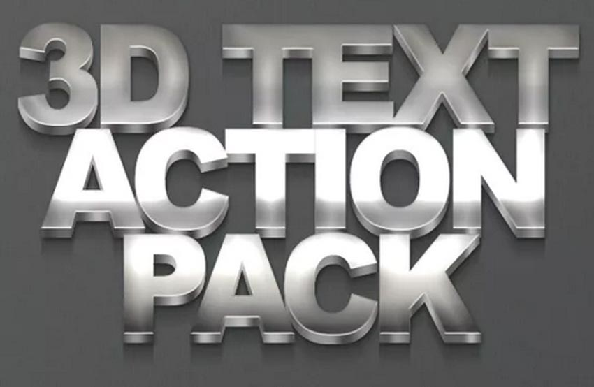3D Metal Style Photoshop Text Action Pack