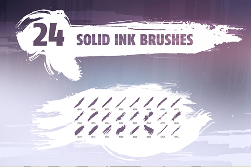 24 Solid Ink Brush Photoshop