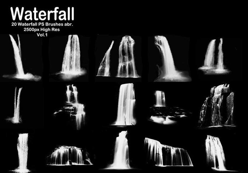 20 Waterfall Photoshop Brushes
