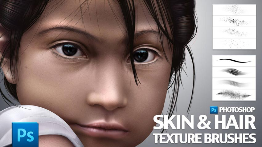 Skin and Hair Photoshop Brush Textures