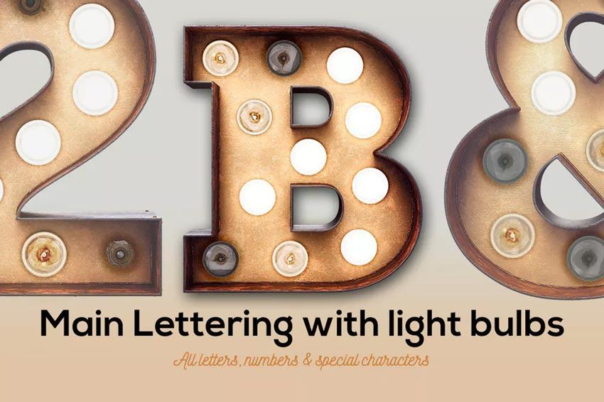Marquee Light Bulbs 3D Text Effect