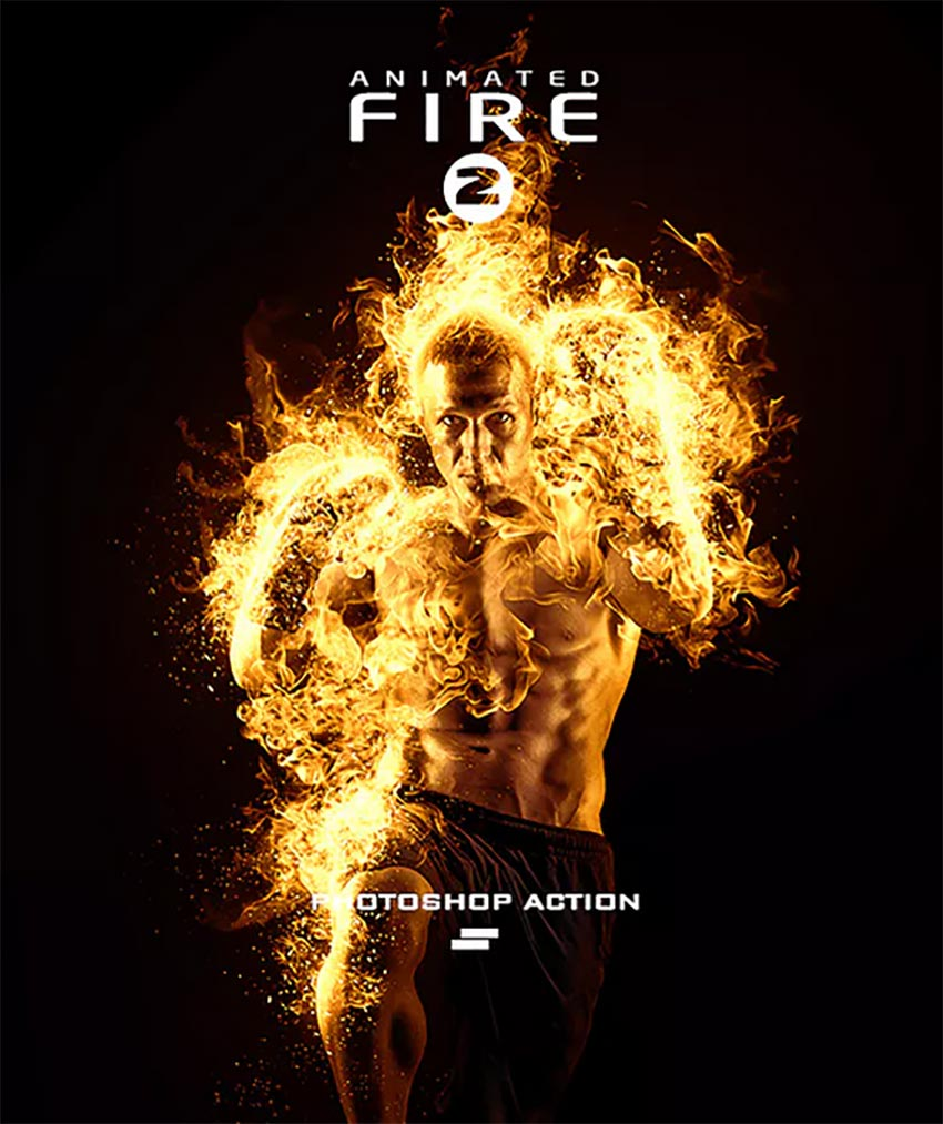 GIF Animated Fire Photoshop Action