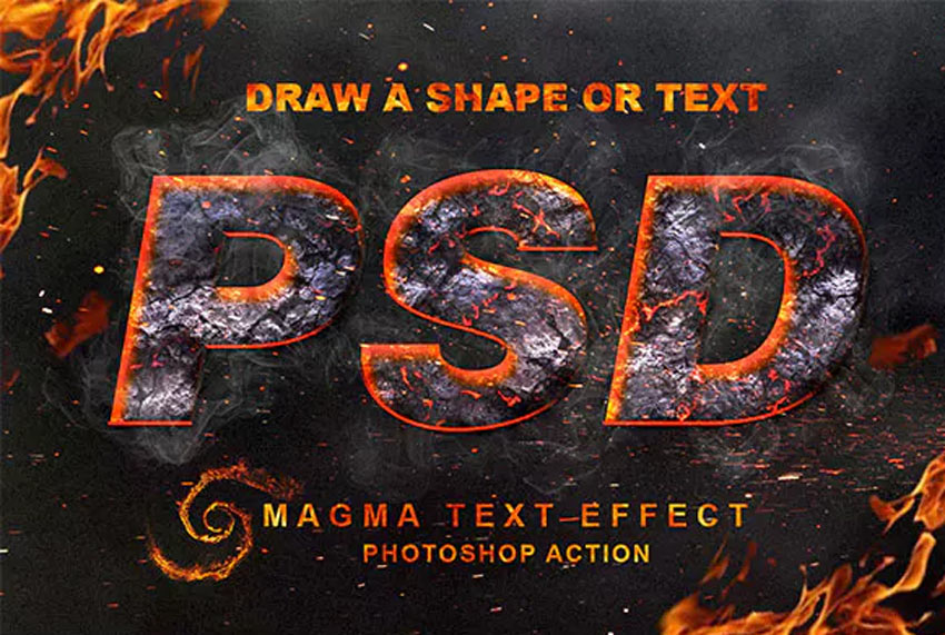 Magma Text Effect Photoshop Action