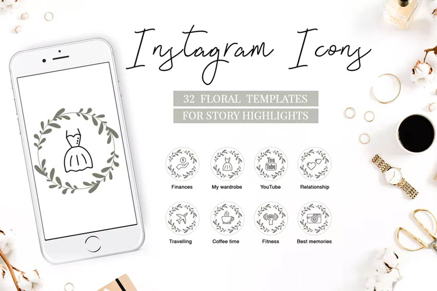 Floral Highlights - Instagram Icons