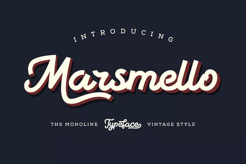 Marsmello Baseball Script Font