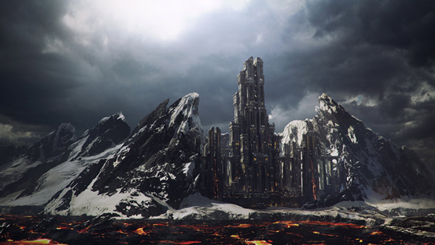 Moutain Fortress Matte Painting Photoshop Tutorial