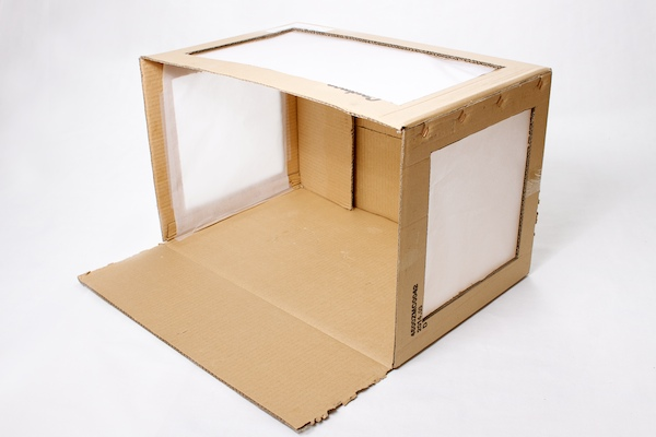 Cardboard box with paper attached over the windows