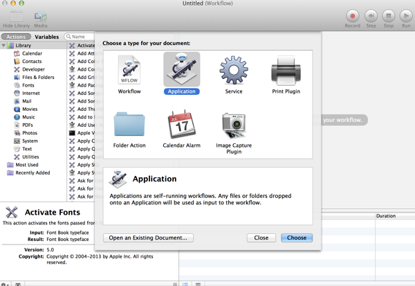 create a new automator application