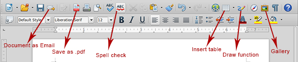 Writer toolbar