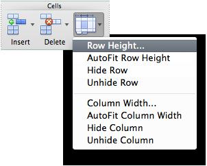 row height