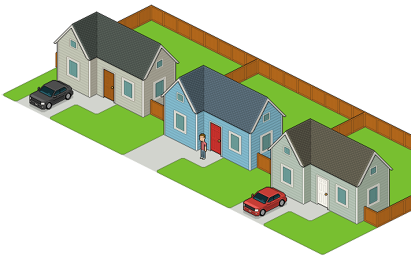 neighborhood with rounded corners on lawns