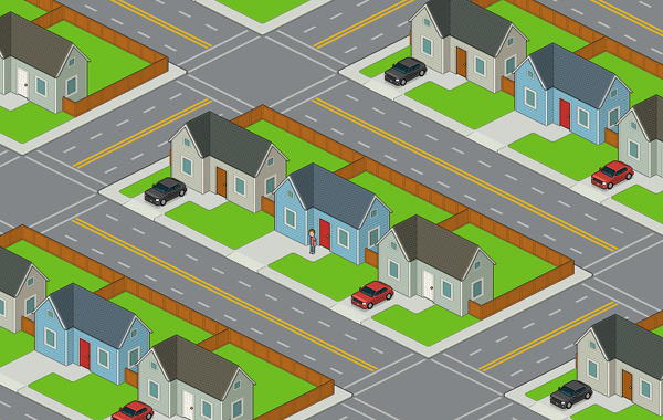 Completed neighborhood drawing in isometric pixel art