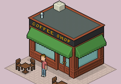 Create an isometric pixel art coffee shop in adobe photoshop for Coffee shop design software