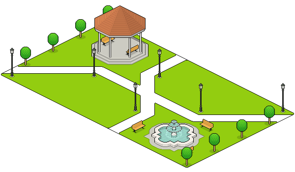 improving fountain placement and placing the other small trees